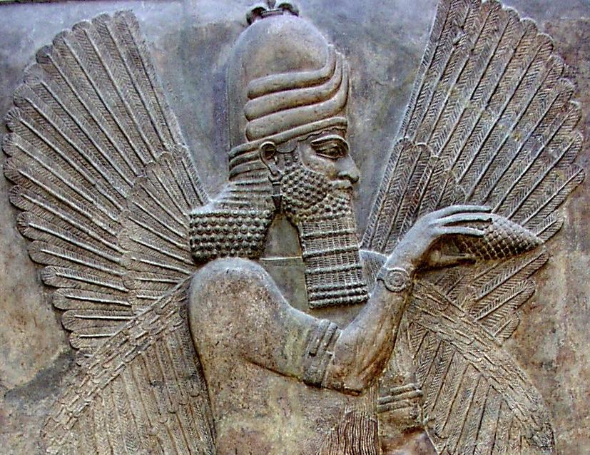 Assyrian holding pine cone